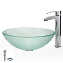 KRAUS Frosted Glass Vessel Sink in Clear with Visio Faucet in Chrome