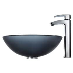 Kraus Bathroom Combo Set Frosted Black Glass Sink with Faucet - Thumbnail 2