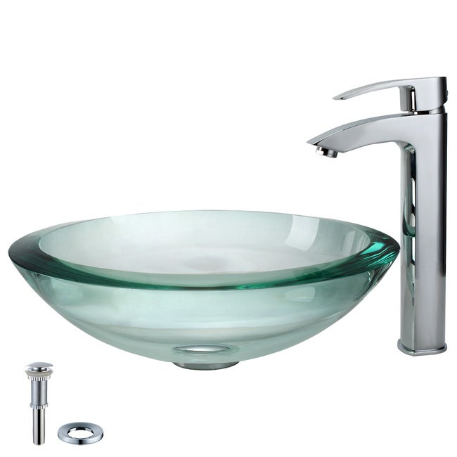 Kraus Bathroom Combo Set Clear Glass Sink with Faucet - 12433965 ...