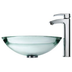 KRAUS 34 mm Thick Glass Vessel Sink in Clear with Visio Faucet in Chrome - Thumbnail 2