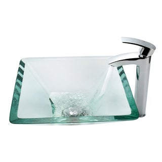 KRAUS Square Glass Vessel Sink in Clear with Visio Faucet in Chrome