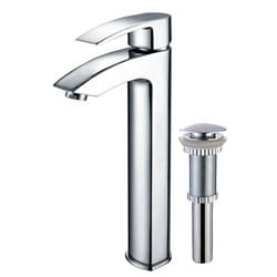KRAUS Visio Single Hole Single-Handle Vessel Bathroom Faucet with Pop-Up Drain in Chrome