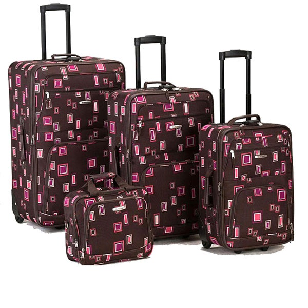 Rockland Deluxe Chocolate 4-piece Expandable Luggage Set