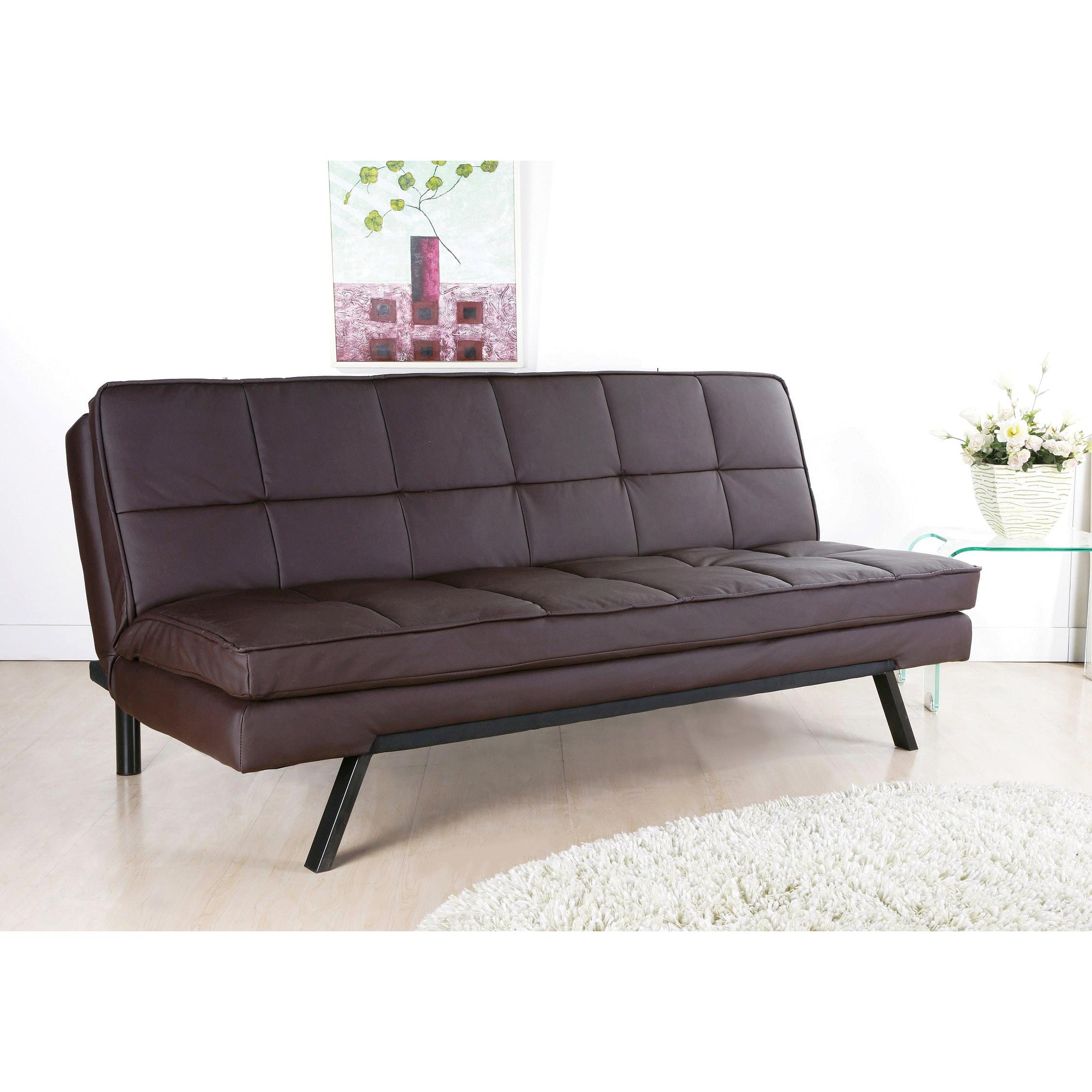 Abbyson Newport Faux Leather Futon Sleeper Sofa (Brown), ...