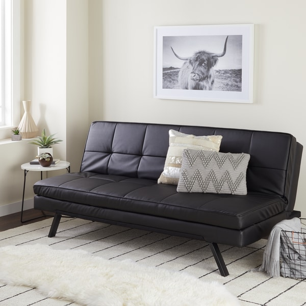 Shop Abbyson Newport Faux Leather Futon Sleeper Sofa On