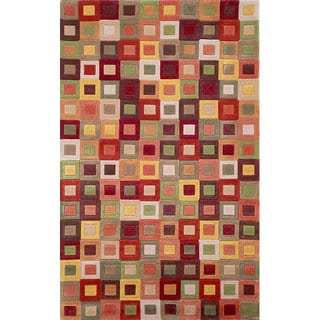 Square in Square Brown/ Green Rug (3'6 x 5'6)