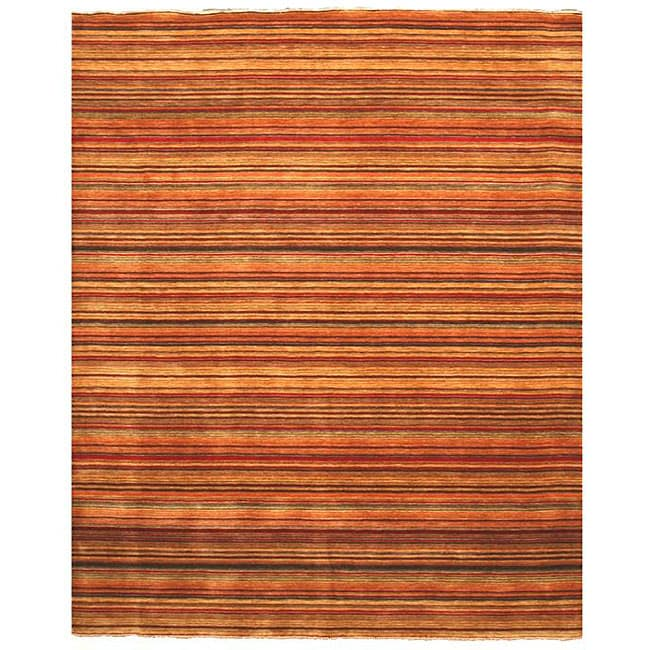 Handmade Wool Transitional Stripe Lori Toni Rug (8' x 10')