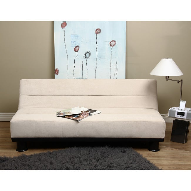 Cream Velvet Look Sofa Bed Free Shipping Today 12435678