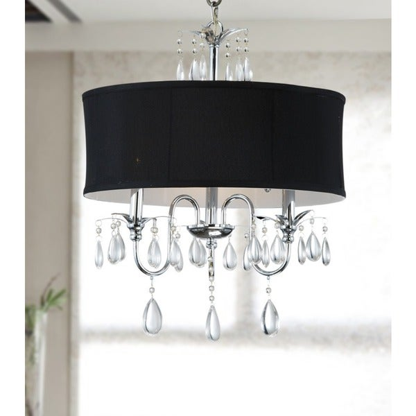 Chrome 3 light black shade crystal chandelier free shipping today chrome 3 light black shade crystal chandelier aloadofball Gallery