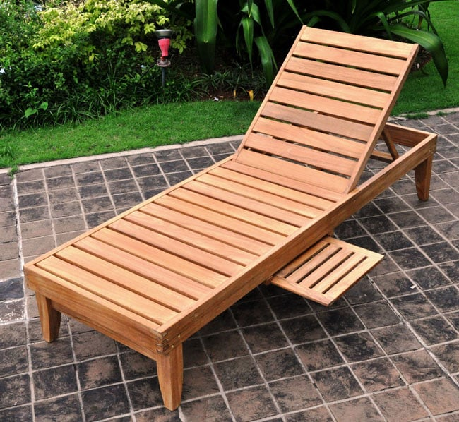 Deluxe Teak Chaise Lounge With Tray Free Shipping Today