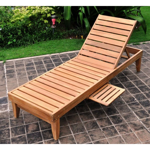 Shop Deluxe Teak Chaise Lounge With Tray Free Shipping