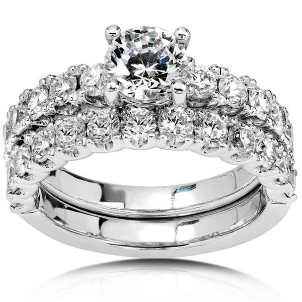 Annello by Kobelli 18k Gold 2 3/4ct TDW Diamond Bridal Ring Set (G-J, SI)