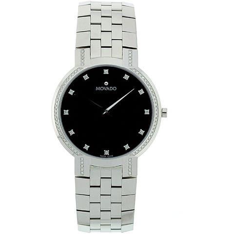 Movado Men's 0606237 'Faceto' Diamond Stainless Steel Watch
