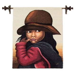 Handmade Little Girl in Red Wool Tapestry (Peru) - 3.7' x 2.9'