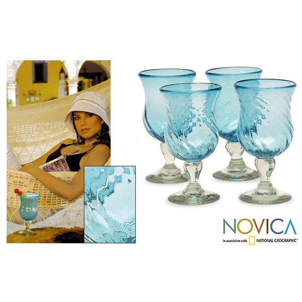 Hand Blown Set of 4 Caribbean Sea Cocktail Glasses (Mexico)
