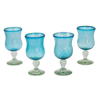 Handmade Set of 4 Caribbean Sea Cocktail Glasses (Mexico)