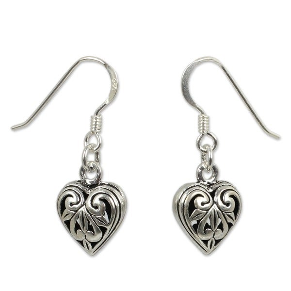 Sterling Silver 'Filigree Heart' Heart Earrings (Thailand)