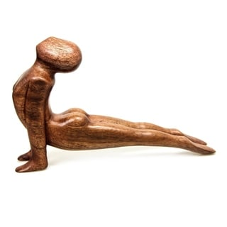 Yoga Cobra Pose Sleek Graceful Meditative Decorator Accent Brown Wood Handmade Modern Signed Art Wor