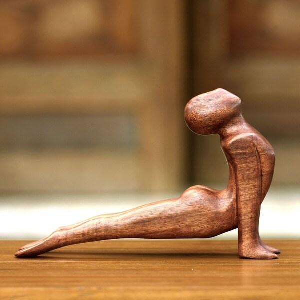 Yoga Cobra Pose Sleek Graceful Meditative Decorator Accent Brown Wood Handmade Modern Signed Art Wor