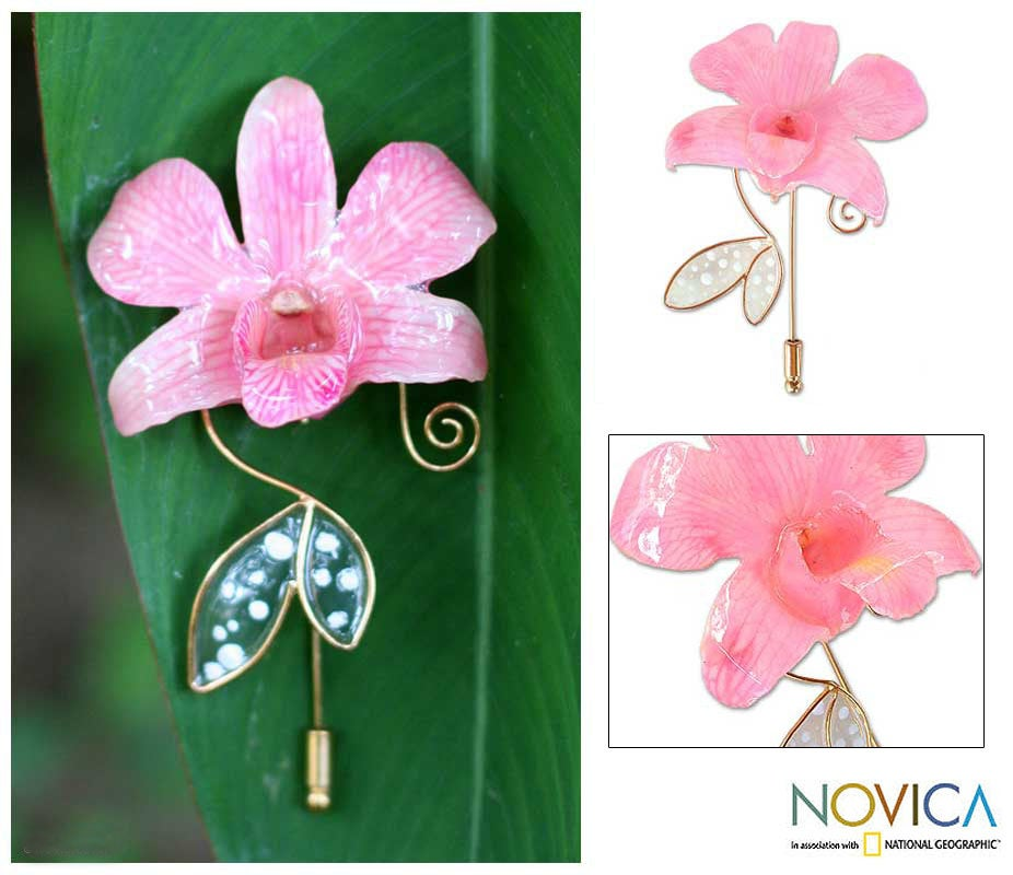 Goldplated Orchid 'Perfectly Pink' Stickpin (Thailand)