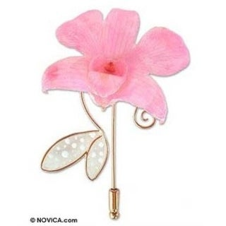 Handmade Goldplated Orchid 'Perfectly Pink' Stickpin (Thailand)