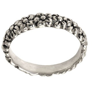 Delightful Flower Garland Suitable for Stacking Handmade Artisan 925 Sterling Silver Womens Band Ring (Indonesia)