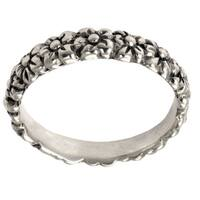 Delightful Flower Garland Suitable for Stacking Handmade Artisan 925 Sterling Silver Womens Band Rin