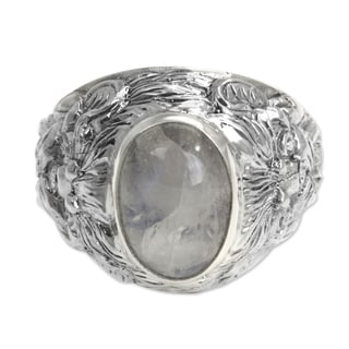 lions charisma strong masculine large bezel set cabochon moonstone in highly polished 925 sterling silver mens - Moonstone Wedding Rings