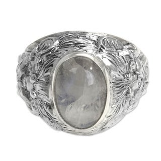 Handmade Lions Large Bezel Set Cabochon Moonstone in Highly Polished 925 Sterling Silver Mens Ring (Indonesia) - White