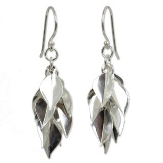 Silver Leaves Gathered in a Cluster Drop to a Point in 925 Sterling Silver Handcrafted Womens Modern Dangle Earrings (Thailand)