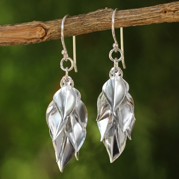 Silver Leaves Gathered in a Cluster Drop to a Point in 925 Sterling Silver Handmade Womens Modern (Thailand)