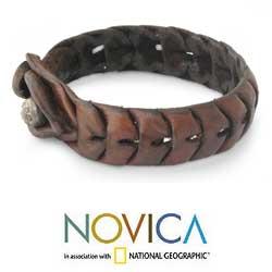 Leather 'Waves' Wristband Bracelet (Thailand) - Thumbnail 1