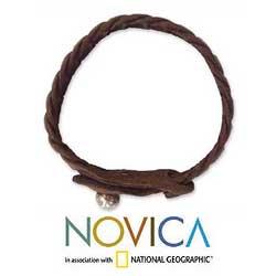 Leather 'Waves' Wristband Bracelet (Thailand) - Thumbnail 2