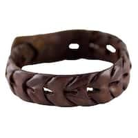 Leather 'Waves' Wristband Bracelet (Thailand)