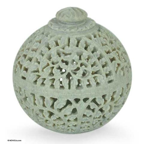 Handmade Soapstone 'Jasmine Rose' Jar (India) - White
