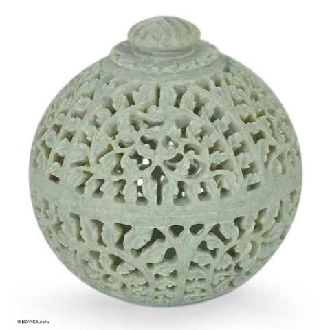 Soapstone 'Jasmine Rose' Jar - White
