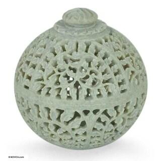 Soapstone 'Jasmine Rose' Jar - White