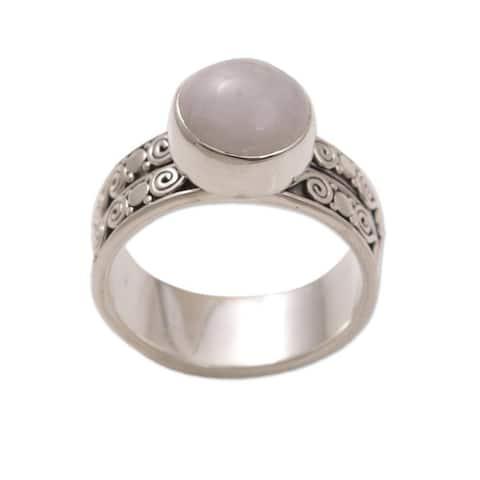 NOVICA Sterling Silver 'Dawn Sky' Rose Quartz Solitaire Ring