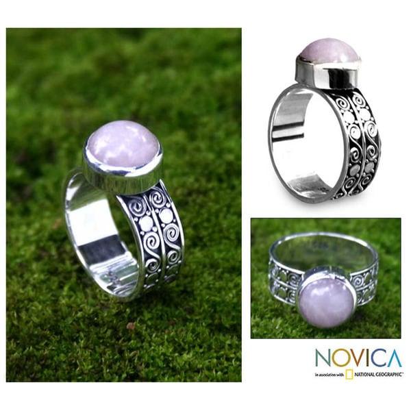 Handmade Sterling Silver 'Dawn Sky' Rose Quartz Solitaire Ring (Indonesia)