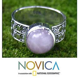 Silver 'Dawn Sky' Rose Quartz Solitaire Ring (Indonesia)