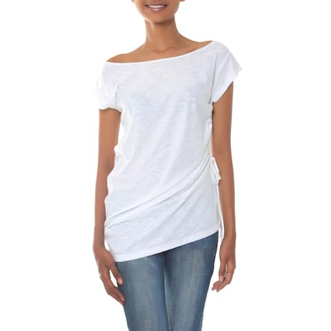 Handmade Cotton 'Side Cinch White' Tunic Blouse (Indonesia)