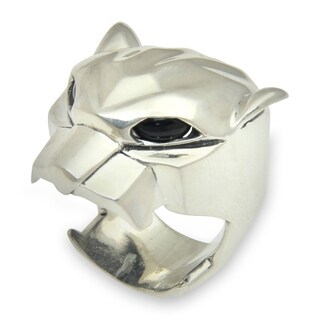 Sterling Silver 'Jaguar' Men's Onyx Ring (Indonesia)