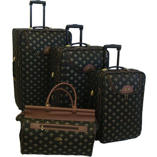 American Flyer Lyon Black 4-Piece Luggage Set