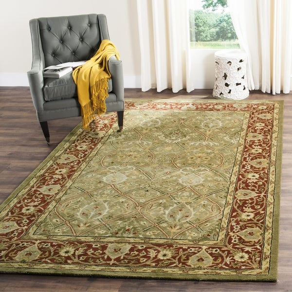 Safavieh Handmade Mahal Green/ Rust New Zealand Wool Rug (4' x 6')