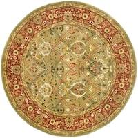 """Safavieh Handmade Mahal Green/ Rust New Zealand Wool Rug - 3'6"""" x 3'6"""" round"""