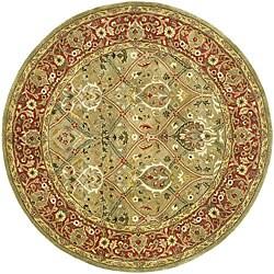 Safavieh Handmade Mahal Green/ Rust New Zealand Wool Rug (6' Round)