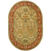 "Safavieh Handmade Mahal Green/ Rust New Zealand Wool Rug - 7'6"" x 9'6"""