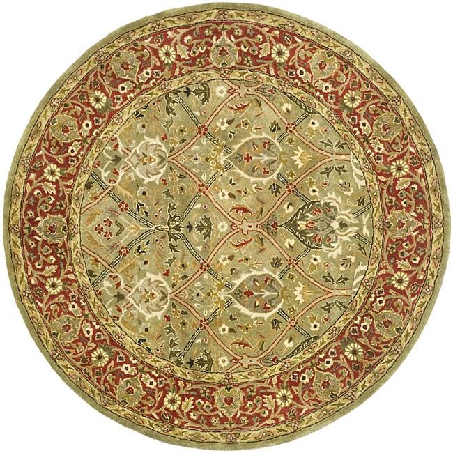 Safavieh Handmade Mahal Green/ Rust New Zealand Wool Rug (8' Round)