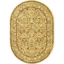 Safavieh Handmade Mahal Light Brown/ Beige N.Z. Wool Rug (4'6 x 6'6 Oval)