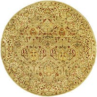 Safavieh Handmade Mahal Light Brown/ Beige New Zealand Wool Rug (6' Round) - 6' Round